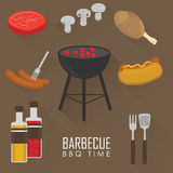 Icons set of Barbecue Grill. Big set Icons of Barbecue Grill, sausage, BBQ and more . Vector Flat Illustration Stock Images