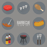 Icons set of Barbecue Grill. Big set Icons of Barbecue Grill, sausage, brazier and more . Vector Flat Illustration Royalty Free Stock Images