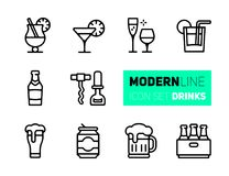 Icons set of beverages and glasses royalty free illustration