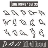 Icons set Bird line black Modern Style design elements Geometry Royalty Free Stock Photos
