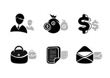 Icons set in black for business and finances. Silhouette with shadow of businessman, documents, money bag, briefcase Stock Photos
