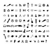 Icons Set. Set of 95 Black Icons in the field of Web, Media, Education, Industries Stock Illustration