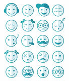 Icons set 20 blue color of half. Icons set 20 emotional and kids smiles in blue color of half face Vector Illustration