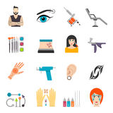 Icons set with bodyart tattoo piercing and special Stock Photos