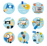 Icons set for business, e-shopping, logistics. Set of flat style icons for business strategy, development, startup, e-commerce, logistics on white background Stock Image