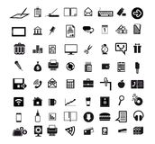 Icons set. Business economics office set of 64 black icons on white background Royalty Free Illustration