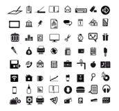 Icons set. Business economics office set of 64 black icons on white background royalty free illustration