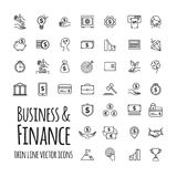 Icons set - business, finance, startup in outline design with elements for mobile concepts and web apps. For your design Royalty Free Stock Photos