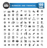 100 icons set of business and financial isolated on white backgr. Ound vector illustration eps 10 royalty free illustration