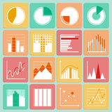 Icons set of business presentation charts and. Icons set of business presentation charts graphs and infographic elements isolated vector illustration Royalty Free Stock Photography
