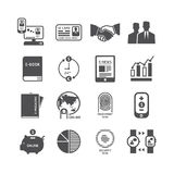 Icons set business technology vector black colour design. Stock Photos