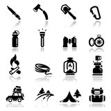 Icons set camping Stock Photography