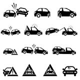 Icons set of car accident Stock Images