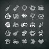 Icons Set of Car Symbols on Blackboard. In the EPS file, each element is grouped separately. Clipping paths included in additional jpg format Stock Images