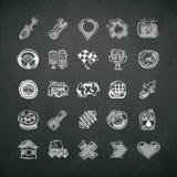 Icons Set of Car Symbols on Blackboard Stock Images