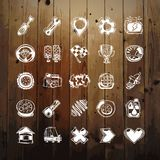 Icons Set of Car Symbols on Wood Texture Stock Photography