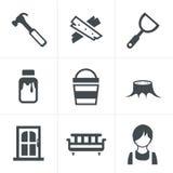 Icons set carpenter Royalty Free Stock Image