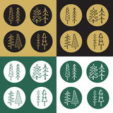 Icons Set of cartoon fir tree stickers Stock Image