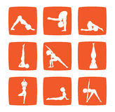 Icons set of cartoon girl practicing yoga Stock Images