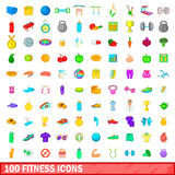 100 icons set, cartoon style Stock Photography