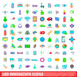 100 icons set, cartoon style. 100 innovation icons set in cartoon style for any design vector illustration Royalty Free Stock Photo