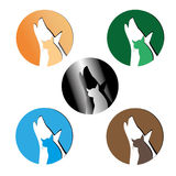 Icons Set cats and dogs. Friends cats and dogs symbols Stock Photo