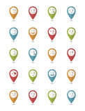 Icons set 20 characters pointers. Icons set 20 faces and characters  different in colors pointers Stock Photography