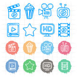 Icons set cinema doodles Royalty Free Stock Photo