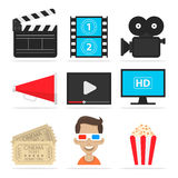 Icons set cinema Stock Images
