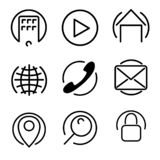 Icons set in circle stock illustration