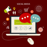 Icons set of cloud computing analytic social media Stock Images
