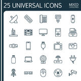 Icons Set. Collection Of Cctv, Extension Cord, Socket And Other Elements. Also Includes Symbols Such As Security, Rotor Royalty Free Stock Image