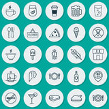 Icons Set. Collection Of Sundae, Cocktail, Sorbet And Other Elements. Also Includes Symbols Such As Lemonade, Fork, Bowl Royalty Free Stock Photos