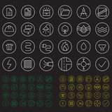 Icons set. Color round building communication icons. Icons construction and repair. Sewerage pipeline, electricity, roads, landscaping, gas pipeline, heating stock illustration