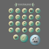 Icons set with colorful glossy spheres Royalty Free Stock Images