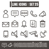 Icons set communication line black Modern Style design elements Stock Photos