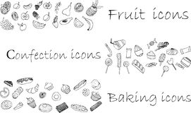 Icons set , confection, baking and fruit Stock Photos