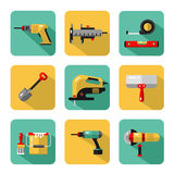 Icons set of construction tools. Vector icons set of construction tools: drill, spatula, shovel, electric jig saw, angle grinder, screwdriver, paint bucket Royalty Free Stock Images