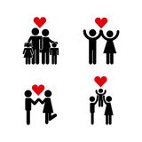 Icons set of couples. And red heart icon over white background. pictogram design. vector illustration Royalty Free Stock Photos