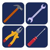Icons set of craft, tools Stock Photography