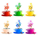 Icons set cup coffee color vector illustration Stock Images