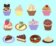 Icons set of Cupcakes Dessert- Illustration Royalty Free Stock Photo
