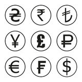 Icons set of currencies of the world. Dollar, euro, pounds, francs, rupees, yen Royalty Free Illustration