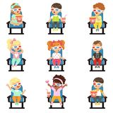 Icons set of cute little children in 3D-glasses Royalty Free Stock Photo