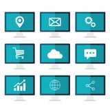 Icons set on desktop computer screen. Flat vector illustration. Icons set on desktop computer blue screen. Flat vector illustration Royalty Free Stock Image