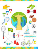 Icons Set Devoted to Summer Sport Games in Brazil. Set of icons devoted to summer sport games in Brazil. Gold medal event. Worldwide sport competition in Latin Royalty Free Stock Photo