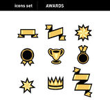 Icons set; different awards signs Royalty Free Stock Photo