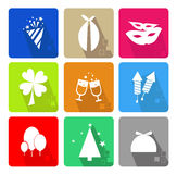 Icons set. With different elements of the main celebrations Royalty Free Stock Images