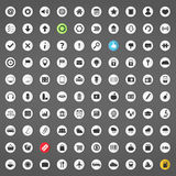 100 Icons. Set of 100 different icons, includes shopping, travel, weather, transport, navigation, electronics, education, security themes, web icons and arrows Stock Photography
