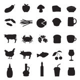 Icons set of different type of food and drinks Stock Photos